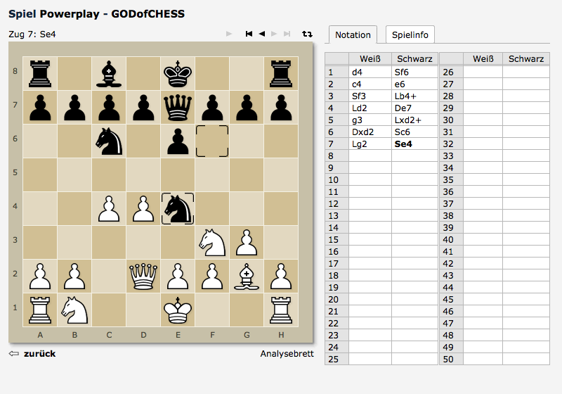 Chess game with notation