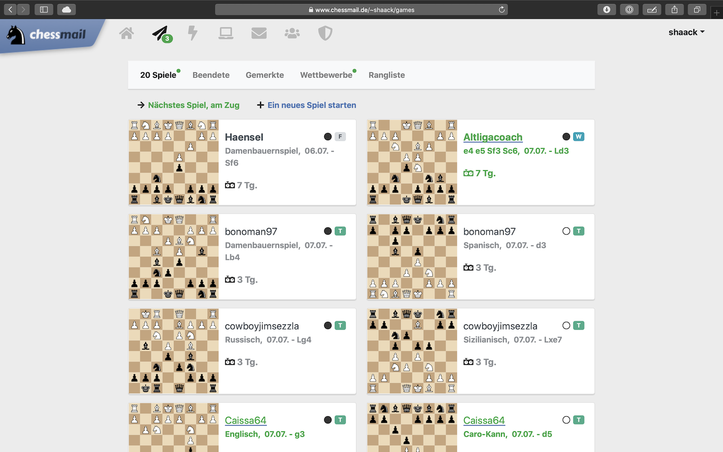 The list of your chess games, with preview function